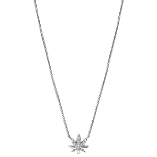 Djula - GOLD AND DIAMONDS, LEAF NECKLACE
