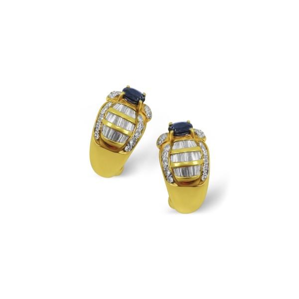 18k Yellow Gold, Sapphire and Diamond Earrings