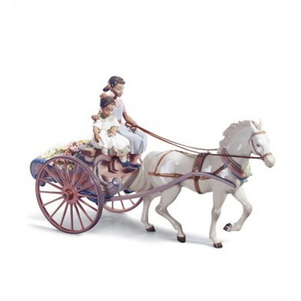 Lladro Flower Wagon