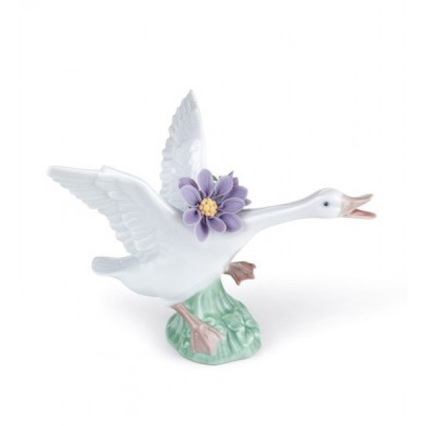 Lladro - Jumping Duck With Purple Dah