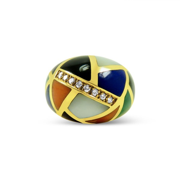Asch Grossbardt Mixed Stones and Diamond Ring