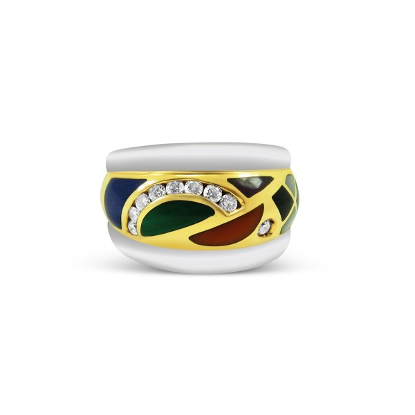 Asch Grossbardt Mixed Stones and Diamond Ring in 14k Yellow and White Gold