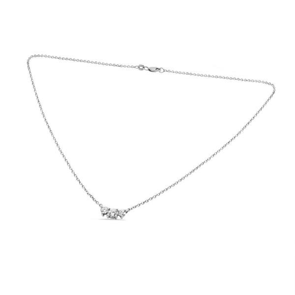 Three stone diamond pendant with 14k white gold aloadofball Choice Image