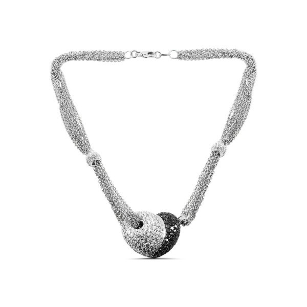 Leo pizzo black and white diamond heart pendant necklace aloadofball Image collections