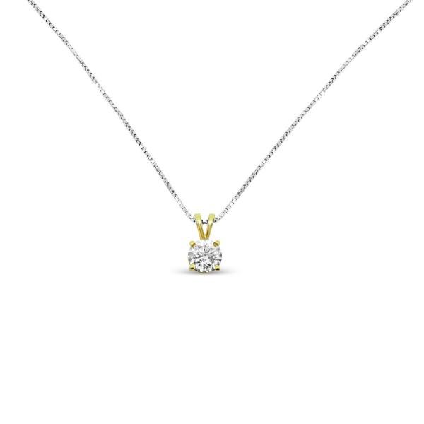 14k yellow gold diamond pendant with 14k white gold necklace aloadofball Gallery