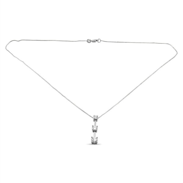 Three stone drop diamond pendant necklace in 14k white gold aloadofball Image collections