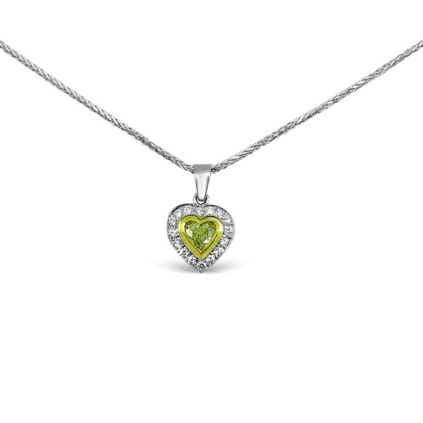 3a559ea131c19 Yellow Diamond Heart Pendant in 18k White Gold