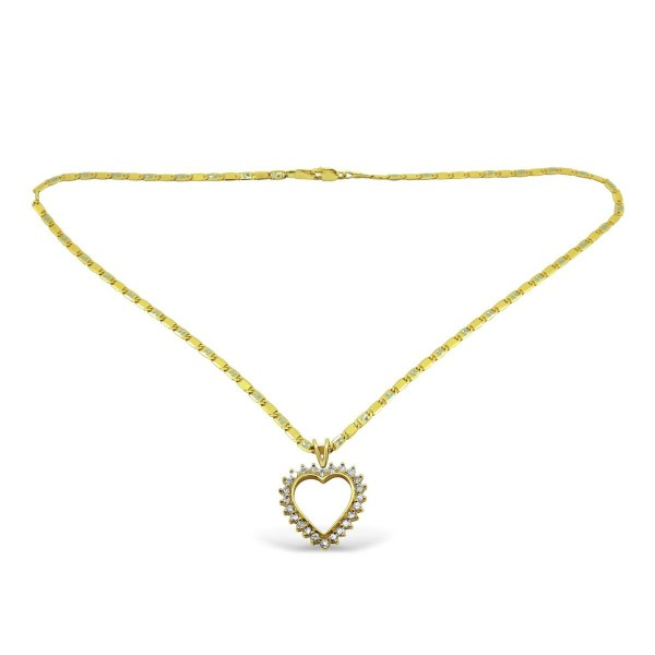 14k yellow gold necklace with heart shaped diamond pendant aloadofball Gallery
