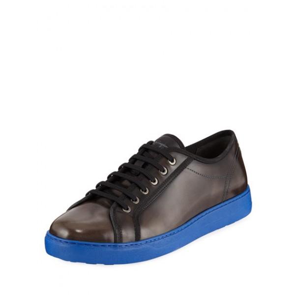 Salvatore Ferragamo - Men's Lace-Up Sneakers With Contrast Heel in Black