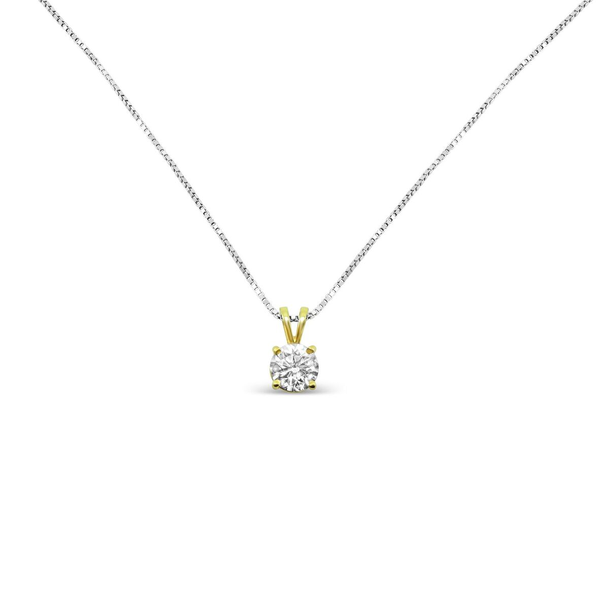 14k Yellow Gold Diamond Pendant With 14k White Gold Necklace